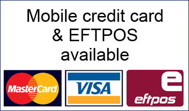 mobile credit card & EFTPOS available